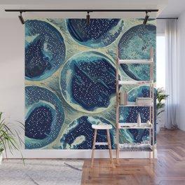 Abstract blue circles pattern Wall Mural