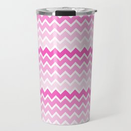 Pink Ombre Chevron Travel Mug