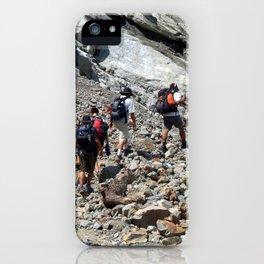 Trekkers Climbing over Landslide iPhone Case
