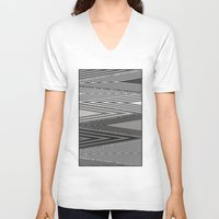 knit V-neck T-shirts featuring Grey Knit by GPM Arts
