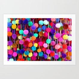 Rainbow Pom-poms (Horizontal) Art Print