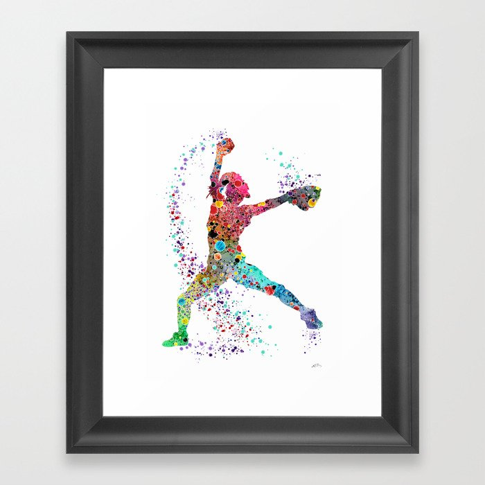 Baseball Softball Pitcher Watercolor Print Art Print Girl's Softball Painting Gerahmter Kunstdruck