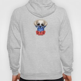 Cute Puppy Dog with flag of Russia Hoody