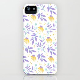 Yellow flowers and purple leaves iPhone Case