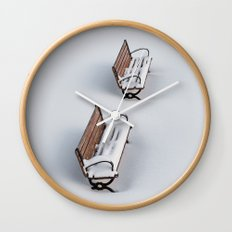 Winter's Benches Wall Clock