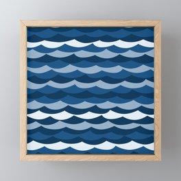 Classic Blue Wave Pattern Framed Mini Art Print