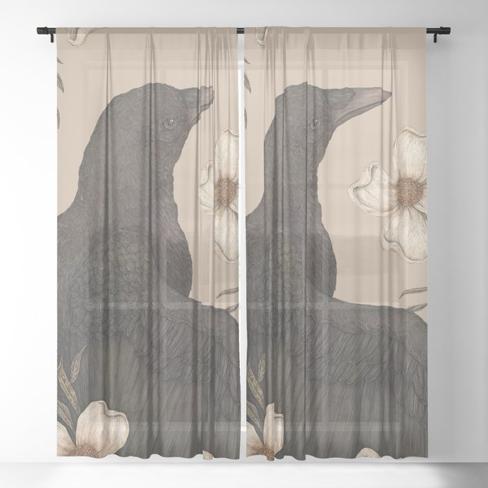 The Crow and Dogwoods Sheer Curtain