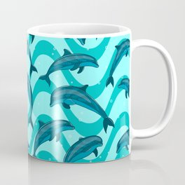 A flock of dolphins in the sea. Marine seamless pattern. Coffee Mug