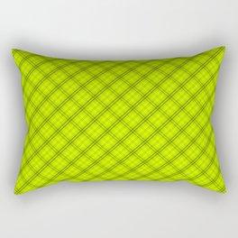 Slime Green and Black Halloween Tartan Check Plaid Rectangular Pillow