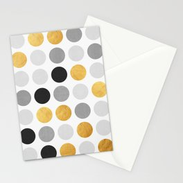 Gray and gold circles Stationery Cards