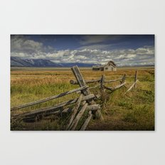 Wood Fence with Farm on Mormon Row in the Grand Teton National Park Canvas Print