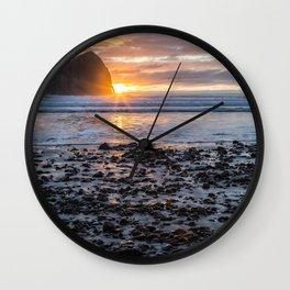 Haystack Rock, Cape Kiwanda, Pacific City at Sunset Wall Clock