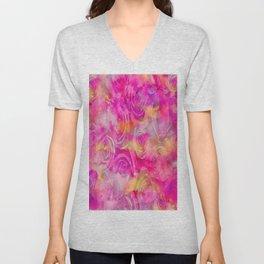 Rainbow Rose Abstract Unisex V-Neck