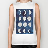 moon phases Biker Tanks featuring Moon phases by Bridget Davidson