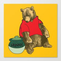 pooh Canvas Prints featuring Pooh! by Pieterjan Arends