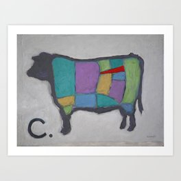 Cuts of Beef - Butcher Reference - Tenderloin in Red Art Print