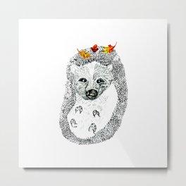Cute Hedgehog Drawing Metal Print