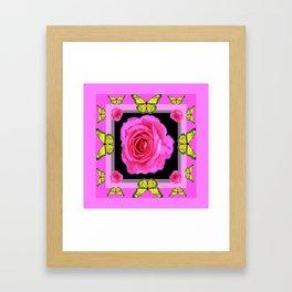 Lavender Fuchsia Pink Rose Butterfly Art Framed Art Print