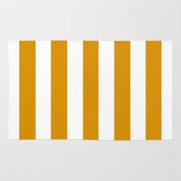 Harvest gold orange - solid color - white vertical lines pattern Rug