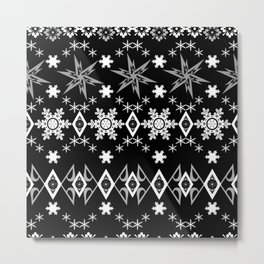 Black white Christmas ornament Metal Print