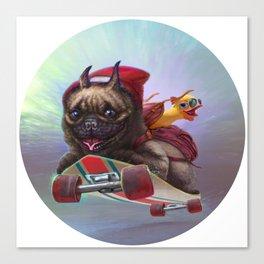 bulldog on a longboard Canvas Print