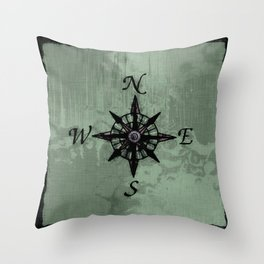 Historic Old Compass Rose Throw Pillow
