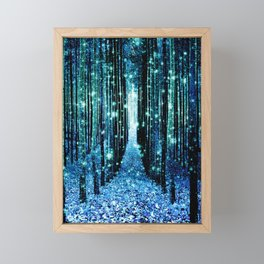 Magical Forest Teal Turquoise Framed Mini Art Print
