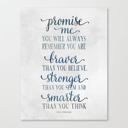 Braver - Christopher Robin Typography Quote.  Canvas Print