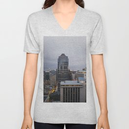 Downtown Seattle Cityscape Unisex V-Neck