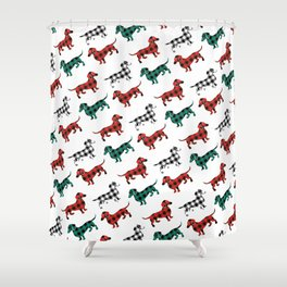 Christmas Dachshunds Red Flannel Shower Curtain