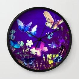 Night Butterflies Wall Clock