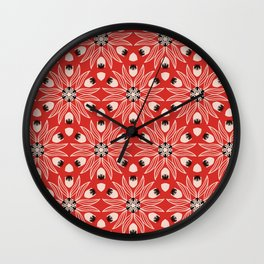 Vintage Poppy Red and Old Cream Drawn Flower Linear, with Black Seed Pods Floral Wall Clock
