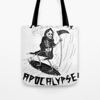 apocalypse now Tote Bags featuring Surf Now, Apocalypse Later by Alejandro Giraldo