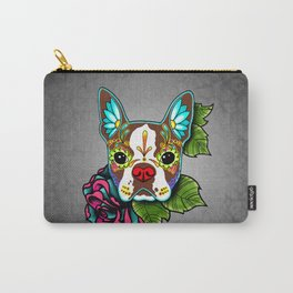 Boston Terrier in Red - Day of the Dead Sugar Skull Dog Carry-All Pouch