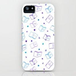 Classic Book Doodles Purple & Blue iPhone Case