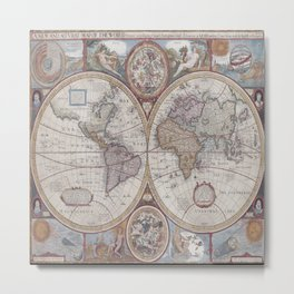 Vintage Map World Metal Print