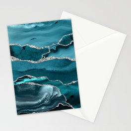 Glamour Turquoise Blue Bohemian Watercolor Marble With Silver Glitter Veins Stationery Cards