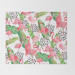 Flamingo Paradise Throw Blanket