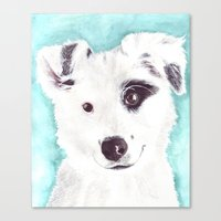 border collie Canvas Prints featuring Border collie by Art by Frydendal