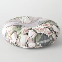 Shabby Chic Dreamy Pink Roses Cottage Floral Decor Floor Pillow