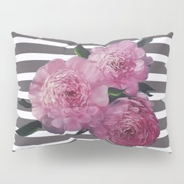 Painted Pink Peonies on Striped Background Pillow Sham