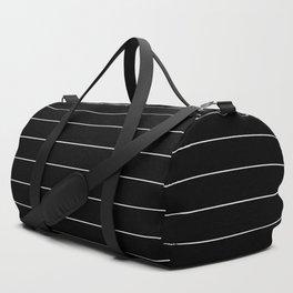 Black White Pinstripe Minimalist Duffle Bag