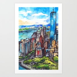 New York ink & watercolor illustration Art Print