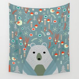 Winter pattern with baby bear Wall Tapestry