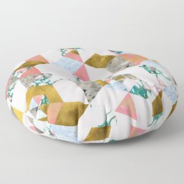 Geometry of Love Blush Marble Painting, Abstract Colorful Gold Pastel Shapes Collage Graphic Design Floor Pillow