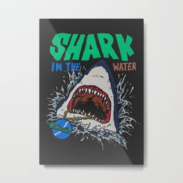 Shark In The Water Metal Print