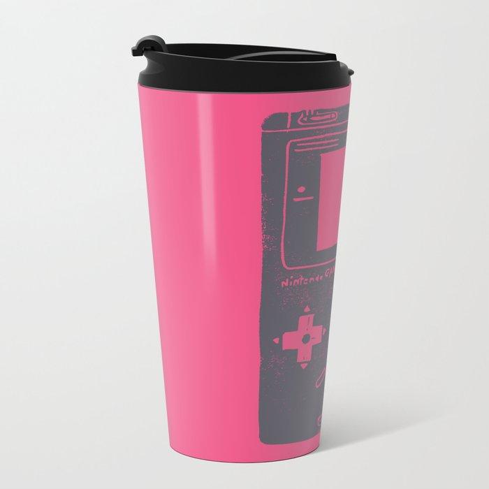 Game Boy on pink Metal Travel Mug