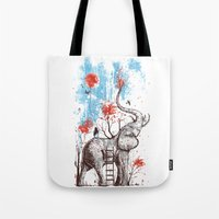 girl Tote Bags featuring A Happy Place by Norman Duenas