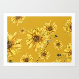 Sunflower Pattern 3 Art Print