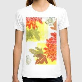 dahlias in fall colors: linocut T-shirt